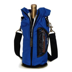 "Picnic Plus - Wine Pouch, Blue - Picnic Plus Wine Bottle Insulated Pouch With Opener, Blue. Color/Design: Blue; Classic carrier for your Chablis or chardonnay; Fully insulated tote holds 1 bottle; Includes a wooden handle corkscrew opener. Dimensions: 12""H x 4""D"