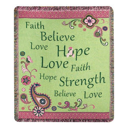 Manual - Love Hope Believe Breast Cancer Awareness Tapestry Throw Blanket 50 in x 60 In - This multicolored woven tapestry throw blanket is a wonderful addition to the home of anyone who has been affected by breast cancer. Made of cotton, the blanket measures 50 inches wide, 60 inches long, and has approximately 1 1/2 inches of fringe around the border. The pink and green blanket features a print of spaisley, with inspirational words such as 'Faith', 'Believe', 'Hope' and 'Strength'. Care instructions are to machine wash in cold water on a delicate cycle, tumble dry on low heat, wash with dark colors separately, and do not bleach. A portion of the proceed go to the National Breast Cancer Foundation.