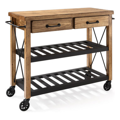 """Crosley Furniture - Crosley Furniture Roots Rack Industrial Kitchen Cart in Pine - The relaxed lifestyle of French Wine country comes to life in Crosley's new Roots Rack.  Its rustic design is reflective of a time when recycling wasn't a societal choice, but a way of life.  Starting with a solid pine top, we simulate the popular """"reclaimed"""" wood look by hand - etching a weathered plank design into the surface.  The rich honey finish extends to the sturdy legs, riding on industrial style casters wrapped in rubber.  Two spacious drawers sit on full-extension glides, providing maximum utility.  The sturdy metal shelves are finished in black, and are perfectly notched to secure individual wine bottles.  Completing the package are industrial style drawer pulls, towel bars, and X-supports.  The Roots Rack is perfect for any kitchen activity - slicing, dicing, mixing, or mingling."""