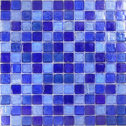 "Glass Tile Oasis - Light Blue Blend 1"" x 1"" Blue 1"" x 1"" Iridescent Glossy and Iridescent Glass - Sheet size: 12"" x 12"""