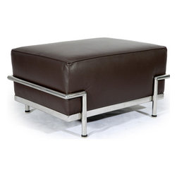 "Kardiel Le Corbusier Style LC3 Ottoman, Choco Brown Aniline Leather - Complete the reproduction of LC3 Sofa Set with the matching Ottoman. Often hard to find, the LC3 ottoman accessory is created with the highest accuracy of detail to the original. Now you can have your own version of one of the most influential designer icons of the 20th century. The Le Corbusier sofa set series was originally designed in 1928 for the Maison La Roche house in Paris. The design is the modernist response to the traditional club chair. The series comes in a smaller version referred to as the LC2 and a larger version known as the LC3 considered more appropriate for practical living purposes. Remarkably comfortable, Le Corbusier often referred to the pieces as ""cushion baskets"". A striking feature of the LC3 is the externalized metal frame supporting the base, extending as the legs and running the entire length of the piece. Its not just the front of the LC3 that is attractive, the metal frame work means design detail from the sides and back allowing for easy placement even in the middle of a room. The Le Corbusier LC3 set is often used in a group of 2 chairs (1 seat version) and a single sofa or love (2 or 3 seat versions). Kardiel offers the highest quality Le Corbusier LC3 Grande' reproduction on the market. We specialize in this series and understand fully the intricacies of the original design. From the supple Genuine Aniline leather to the plump generously filled and wrapped cushions, our full list of features means you don't have to settle for an inferior reproduction. You also don't have to pay more. With Kardiel's signature reproduction, you can have your own version of the Le Corbusier LC3 Grande series. Compare this reproduction anywhere for its highest standard of exacting detail. The accuracy of this LC3 Grande reproduction is second to none."