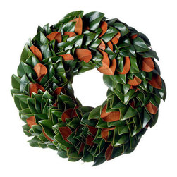 """Season in a Trunk - The Original Magnolia Wreath, 30"""" - Our original magnolia collection is year after year our very best seller. Beautiful stems, fresh cut from the farm are handcrafted to reveal the vibrant glossy green magnolia leaves and their velvety copper underside. Featured throughout Southern Living's Idea House 2013, Nashville, TN. A true classic!"""