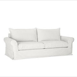 """PB Comfort Roll-Arm Slipcovered Sofa, Polyester Wrap Cushions, Denim Warm White - Sink into this sofa just once, and you'll know how it got its name. Designed with extra-deep seats and three layers of thick padding on the arms and back, this eco-friendly collection invites a whole family to relax together. 83.5"""" w x 40"""" d x 37"""" h {{link path='pages/popups/PB-FG-Comfort-Roll-Arm-4.html' class='popup' width='720' height='800'}}View the dimension diagram for more information{{/link}}. {{link path='pages/popups/PB-FG-Comfort-Roll-Arm-6.html' class='popup' width='720' height='800'}}The fit & measuring guide should be read prior to placing your order{{/link}}. Choose polyester wrapped cushions for a tailored and neat look, or down-blend for a casual and relaxed look. Choice of knife-edged or box-style back cushions. Proudly made in America, {{link path='/stylehouse/videos/videos/pbq_v36_rel.html?cm_sp=Video_PIP-_-PBQUALITY-_-SUTTER_STREET' class='popup' width='950' height='300'}}view video{{/link}}. For shipping and return information, click on the shipping tab. When making your selection, see the Quick Ship and Special Order fabrics below. {{link path='pages/popups/PB-FG-Comfort-Roll-Arm-7.html' class='popup' width='720' height='800'}} Additional fabrics not shown below can be seen here{{/link}}. Please call 1.888.779.5176 to place your order for these additional fabrics."""