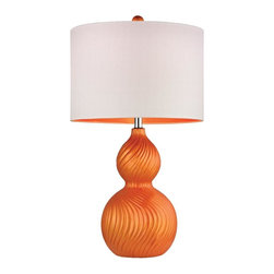Joshua Marshal - One Light Tangerine Orange White Linen With Orange Liner Shade Table L - One Light Tangerine Orange White Linen With Orange Liner Shade Table L