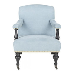 Safavieh - Meredith Arm Chair - A modern take on a country English piece, the Meredith arm chair features a classic curved back and open upholstered arms for a light, airy feel. Light blue linen is accented with beige dressmaker tape and silver nail heads for a fresh new look.