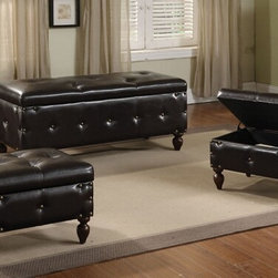 "Acme - 3-Piece Set Ibrahim Brown Leather-Like Upholstered Tufted Top Storage Bench - 3-Piece set Ibrahim brown leather like upholstered tufted top storage bedroom bench and 2 smaller storage ottomans. Bench measures 48"" x 20"" x 20"" H. Small storage ottomans measure 20"" x 17"" x 15"" H. Some assembly required."