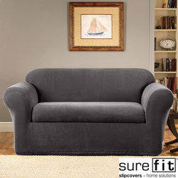 Sure Fit - Stretch Metro Two Piece Grey Sofa Slipcover - Clean lines and an understated two-tone grid pattern are the signatures of the Stretch Metro two-piece separate seat collection. This slipcover is perfect for revitalizing furniture.