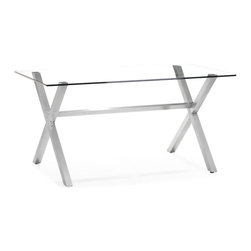 Zuo Modern - Zuo Graphite Dining Table in Clear Glass - Dining Table in Clear Glass belongs to Graphite Collection by Zuo Modern Made from clear tempered glass and a stainless steel frame, the Graphite stands out as intended. Dining Table (1)