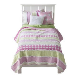 Maddie Quilt Set, Pink - This bedding is simple and the colors aren't overwhelming.