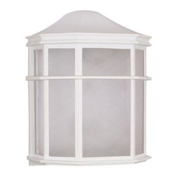 Nuvo - Outdoor - 1 Light Cfl - 10 in. Cage Lantern Wall Fixture - White Acrylic Shade. UL Wet Rated. Fluorescent . Energy Saver. Color/Finish: White. Max wattage: 18w. Bulb(s) included. 7.75 in. W x 9.75 in. H