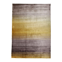 """Linie Design - GRACE Area Rug, Yellow, 5'7""""x7'9"""" - Loom knotted 100% Viscose area rug designed by the Danish company Linie Design. Handmade in India by adult weavers using authentic traditional craftsmanship to create original and comfortable modern design rugs."""