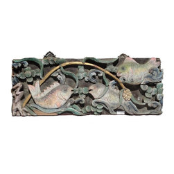 Golden Lotus - Chinese Vintage Handmade Relief Carving Koi Fishes Motif Decorative Panel - This vintage decorative panel has very complicated and detailed relief carving with a motif of 3 Koi Fishes Playing in the Pond .