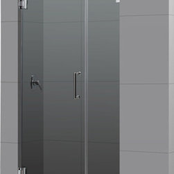 DreamLine - DreamLine SHDR-23437210-04 Radiance 43in Frameless Hinged Shower Door, Clear 3/8 - The Radiance shower door shines with a sleek completely frameless glass design. Premium thick tempered glass combined with high quality solid brass hardware deliver the look of custom glass at an incredible value. 43 in. W x 72 in. H ,  3/8 (10 mm) thick clear tempered glass,  Chrome or Brushed Nickel hardware finish,  Frameless glass design,  Out-of-plumb installation adjustability: No,  Fully frameless glass hinged shower door design,  Solid brass wall mount self-closing hinges and wall brackets,  Precise width measurement of finished opening required,  Door opening: 28 in.,  Stationary panel: 14 in.,  Reversible for right or left door opening installation, Brass