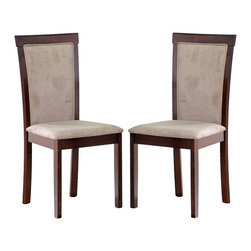 Wholesale Interiors - Judy Dark Brown Modern Dining Chairs, Set of 2 - The contemporary Spain Dining Chair makes a distinct statement of style in any dining room. Its sturdy wood construction is finished with a beautiful rich dark brown stain and veneer on the legs and frame. Comfortable foam cushioning and soft taupe microfiber on the seats completes your new dining area. Assembly is required.
