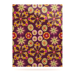 """Kess InHouse - Jane Smith """"Indian Jewelry Floral"""" Purple Gold Metal Luxe Panel (16"""" x 20"""") - Our luxe KESS InHouse art panels are the perfect addition to your super fab living room, dining room, bedroom or bathroom. Heck, we have customers that have them in their sunrooms. These items are the art equivalent to flat screens. They offer a bright splash of color in a sleek and elegant way. They are available in square and rectangle sizes. Comes with a shadow mount for an even sleeker finish. By infusing the dyes of the artwork directly onto specially coated metal panels, the artwork is extremely durable and will showcase the exceptional detail. Use them together to make large art installations or showcase them individually. Our KESS InHouse Art Panels will jump off your walls. We can't wait to see what our interior design savvy clients will come up with next."""