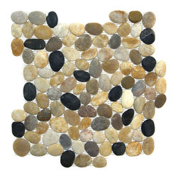 Indo Tile - Natural Finish Mixed Color Pebble Tile, Carton - Natural Finish Mixed Color pebble tile, 100% natural Asian pebbles are assembled on interlocking mesh pattern for a seamless designer finish. A great looking  pebble tile with stunning tones of amber, browns, taupe, burgundy, grayish white and black stones artistically blended. .  The pebbles or ancient river rocks are sorted for color size and thickness ensuring the best gauge of pebbles for a uniform height and color pallet. The pebbles are then carefully reviewed again, hand selected then puzzled into a patented interlocking mesh pattern. The result is a premium pebble tile with superior consistency and quality. Each tile assembly is on a sturdy nylon mesh backing using an environmentally safe glue. The patented interlocking pattern is designed so the pebble tiles fit together seamlessly when installed.  The final installed result is a seamless field of pebbles with no detectable tile pattern.