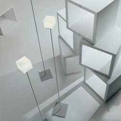 """Itre - Cubi Floor Lamp - Classic cube shape in blown, satin white glass highlights this clean and simple family of designs. Wall / ceiling, suspension, wall, table and floor models are available. FEATURES: -Floor Lamp. -Cubi collection. -Designed by Ufficio Stile I Tre. -White diffuser. -Grey structure. -Satin white glass highlights. SPECIFICATIONS: -Accommodates 75 Watt G9 halogen bulb. -61"""" Overall dimensions: 61"""" H x 3.2"""" W x 7.8"""" D. -69"""" Overall dimensions: 69"""" H x 3.2"""" W x 7.8"""" D. Designed by: UFFICIO STILE I TRE"""