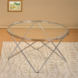 None - Modern Chrome and Glass Round Cocktail Coffee Table - This round chrome finish with glass top coffee table will enhance your home decor with its elegant design. This chrome finished table comes with stylish legs that gives the coffee table a new meaning.