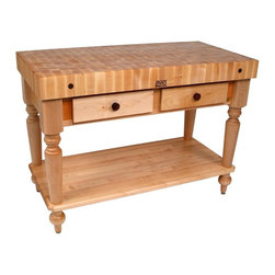John Boos - Table Block w Shelf in Hard Maple End Grain T - Color: Cherry Finish w Alabaster BaseIncludes solid maple shelf. 4 in. Thick Hard Maple Butcher Block Top (End Grain). 48 in. Length Standard w/ Two Dovetailed Drawers. 34.5 in. Height. Hard maple end grain top. Pictured in Natural finish. Standard varnique finish