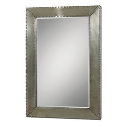 Uttermost - Rashane Aluminum-Framed Wall Mirror with Nail Head Trim, Beveled - Brushed  aluminum  makes  this  mirror  more  modern  in  design,  but  with  a  little  bit  of  rustic  flair  in  the  nail-head  trim.  An  aluminum  frame  with  a  light  silver-champagne  finish  features  a  beveled  mirror  and  a  silver  nail-head  rivets  surrounding  the  inside  and  outside  of  the  frame.    It's  larger  size  makes  it  a  perfect  addition  in  a  bedroom  as  well  as  living  space.
