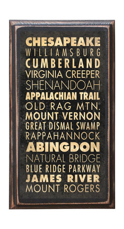 """CrestField - Virginia Points of Interest Decorative Vintage Style Wall Plaque / Sign - This vintage style wall plaque is hand made to commemorate the wonderful state of Virginia. The pine board has a quarter round routed edge and is sized at 7.25"""" x 13"""" x .75"""". The surface is finished with my """"flatter than satin"""" poly finish with a saw tooth hanger on the back. Would look great in any decoration project, home or office."""