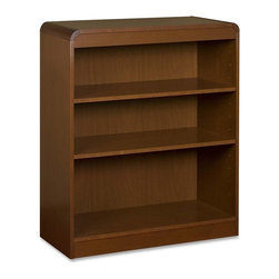 "Lorell - Lorell 3-Shelf Bookcase - 36"" Width x 12"" Depth x 36"" Height - Radius Edge - Three-shelf bookcase features a veneer surface and soft radius corners made from solid hardwood construction. Solid, 3/4 thick shelves are adjustable on 1-3/4 centers with pinhole attachments. Two shelves are adjustable, and the bottom shelf is fixed. Each shelf holds 66 lb. (30 kg). Bookcase has a matching, cherry finish on the back's interior and an unfinished back side."