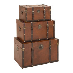 Timeless Designed Wood Leather Trunk - Set of 3 - Do you belong to that perfectionist nature who would not settle for anything but the best? This wood leather trunk set is definitely your pick and you would love to have Contemporary Timeless Designed Wood Leather Trunk (Set of 3). Constructed with super fine wood quality for a long and durable life, this sturdy wood leather trunk set is embraced with a light brown color leather finish all over with chocolate brown belts to complete its look. Apart from being a decorative accessory that blends in with traditional and modern decor, this elegant wood leather trunk is a thing of great utility too. These elegant wooden leather trunks are extraordinary and timeless in design and are Ideal to keep all your extra and important items safely inside for ages.. It comes with following dimensions