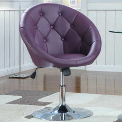 Coaster - Pink/ Purple Transitional Accent Chair - BUTTON TUFTED SWIVEL CHAIR IN LEATHER-LIKE VINYL WITH CHROME BASE. CAN ADJUST IN HEIGHT AND TILT