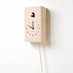 Cuckoo Wall Clock - There is no greater cross between traditional craftsmanship and modern design than this Cuckoo Wall Clock. Brought to you from Japan, this cuckoo clock is made from high quality polished plywood that also has a second swinging wooden hand. You can adjust the volume to hear the bird's sweet chirping as each hour passes, or you can turn it off and simply enjoy the bird's hourly visit. Of course, the bird keeps quiet as you dream away through night.