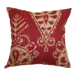"The Pillow Collection - Hargeisa Ikat Pillow Ruby 18"" x 18"" - This gorgeous throw pillow features the traditional ikat print pattern. This accent pillow comes with an intricate ikat floral pattern in yellow hue and a ruby red background. Liven up your space by adding this beautiful decor pillow to your living room or bedroom. This square pillow complements a wide range of decor styles, colors and settings. Hidden zipper closure for easy cover removal.  Knife edge finish on all four sides.  Reversible pillow with the same fabric on the back side.  Spot cleaning suggested."