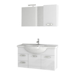 ACF - 39 Inch Glossy White Bathroom Vanity Set - This Italian-made vanity was designed for your master bathroom.