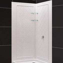 Dreamline - SlimLine Double Threshold Shower Base & QWALL-4 Shower Backwalls Kit - DreamLine combines a SlimLine shower base with coordinating shower backwall panels to create a convenient kit that can transform a shower space. The SlimLine shower base incorporates a low profile design for a sleek modern look. The wall panels have a tile pattern and are easy to install with a trim-to-size fit. Both the shower panels and shower base are made from durable and attractive Acrylic/ABS advanced materials. DreamLine kits offer an ideal solution for any bathroom renovation project.