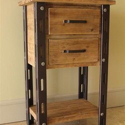 International Caravan - 2-Drawer Tall Table - Bottom shelf. Distressed finish. Made from iron, wood veneer and MDF. Assembly required. 24 in. W x 16 in. D x 38.5 in. H (35 lbs.)