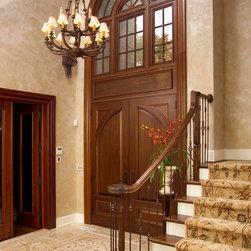 HeartWood Traditional Doors - Custom mahogany double door with multi-part transom.