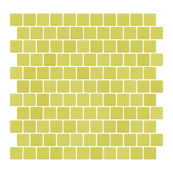 Susan Jablon Mosaics - Lime Green Recycled Glass Tile With Matte Finish - This beautiful vibrant lime matte in 100% recycled glass tile that has a matte finish with a square edge. Perfect on its own or blended in the mosaic designer. Suitable for interior and exterior installation. Eco-friendly never looked so good! Certified by the U.S. Green Building Council for L.E.E.D. Projects, the beauty of these recycled glass tiles prove you don't need to sacrifice to be sustainable. They are suitable for a wide range of uses, indoors and outdoors, in dry or wet locations. A custom mosaic design using these tiles can make a gorgeous, responsible, design statement in your pool, kitchen bathroom, dining room – anywhere! It is very easy to install as it comes by the square foot on mesh and it is very easy to clean! About a decade ago, Susan Jablon re-ignited her life-long passion for mosaics and has built a customer-focused, artist-driven, business offering you the very best in glass and decorative tiles and mosaics. We are a glass tile store committed to excellence both personally and professionally. With lines of 100% SCS Qualified recycled tile, 12 colors and 6 shapes of mirror, semi precious turquoise stones from Arizona mines, to color changing dichroic glass. Stainless steel tiles in 8mm and 4mm and 12 designs within each, and anything you can dream of. Please note that the images shown are actual photographs of the tiles however, colors may vary due to the calibration of each individual monitor. Ordering samples of the tiles to verify color is strongly recommended.