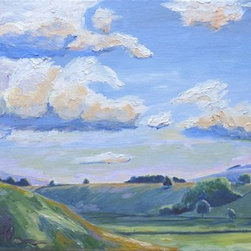 Summertime In England (Original) By Rachael Florence - I painted this landscape in late afternoon half way through a bike ride in the English countryside.  I stopped because I thought the sunlight looked so beautiful just grazing the tops of the hills.