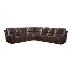 Homelegance - Homelegance Gerald Leather Sectional Reclining Sofa in Rich Brown - Infinitely comfortable, the Gerald collection offers the substantial seating space that you need in your home. With a rich brown bonded leather match cover, three reclining seats, cup holders and hidden storage. This seating group will compliment your home not only with its style but function as well.