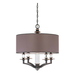 Savoy House - Moderne Royal 5 Light Chandelier - Smooth, polished charcoal shades with sepia tea-stained wash, elaborate crystal detailing, and clean straight lines finished in Distressed Bronze.