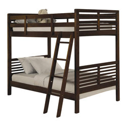 Homelegance - Homelegance Paula II Twin Bunk Bed in Cherry - Homelegance - Bunk Beds - B13481 - The refined modern European look of the Paula Collection is now available in Youth size. The convenience of a trundle bed or toy box the space-saving bunk traditional twin and functional computer desk add to the versatility of this contemporary collection. Constructed of New Zealand pine solids and veneers in an updated cherry finish