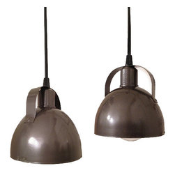 October Design Co. - Petite Industrial Pendant Light - Discovered in an old farmhouse in Pennsylvania, these adorable pendant lights have been beautifully restored with a hammered gunmetal espresso brown finish and brushed aluminum interior. The sleek design pairs nicely with any rustic, industrial or contemporary décor.