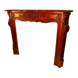 "n/a - Fire Place Mantel Hand Carved Solid Mahogany - Unusual Chippendale style Fire Place is hand made solid mahogany and hand carved. Many layers of beautiful finish are applied to protect the carved frame of this handsome Fireplace surround. Graceful carved florals adorn this English style fire place mantle. Enjoy the old world beauty of this elegant Victorian mantle in your living room, dining room, TV room, or parlor!  Measures 41.5 x 7 x 48""H.  Solid wood construction, no assembly required."