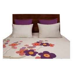 vintagemaya - SHANGHAI ORCHID DUVET AND SHAM 5 PIECE SET - QUEEN - Inspired by glamorous 1920 Shanghai Queen, this handmade Shanghai Queen Orchid includes an ivory duvet cover with button closures and decorative pillow shams. Passed down by many generations, skilled artisans embroider florets across the 450 thread count duvet cover. Buds sprout across the duvet cover, blooming into creamy petals of an orchid. Applique floral patterns capture the glam of 1920 Shanghai with pastel petals and whimsical swirling vines. Handcrafted, the Shanghai Queen Orchid Duvet Cover includes white pillow shams trimmed in purple and decorative euro shams embellished with delicate cross stitching. The variant pillow sham designs highlight the purple and peach accents weaved through out the ivory duvet cover. Capture the essence of 1920 Shanghai with VMs Shanghai Queen Orchid Duvet Cover Set.