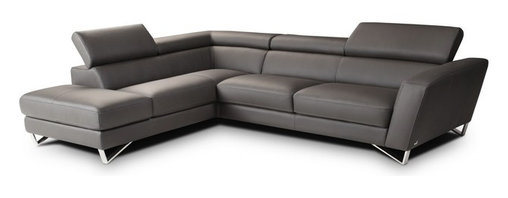 Nicoletti - Nicoletti Grey Italian Leather Sparta Sectional Sofa with Left Facing Chaise - The Nicoletti Sparta Sectional in Grey is a truly lovely modern sofa that will compliment any contemporary home. This great new product features top grain genuine Italian leather, stainless steel legs, adjustable head rest and ratchet mechanism.