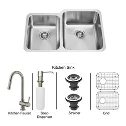Vigo Industries - All in One 32 in. Undermount Stainless Steel Kitchen Sink and Faucet Set - Modernize the look of your entire kitchen with a VIGO All in One Kitchen Set featuring a 32 in. Undermount sink, faucet, soap dispenser, matching bottom grids and strainers. The VG3221R double bowl sink is manufactured with 18 gauge premium 304 Series stainless steel construction with commercial grade premium satin finish. Fully undercoated and padded with a unique multi layer sound eliminating technology, which also prevents condensation. All VIGO kitchen sinks are warranted against rust. Required interior cabinet space: 34 in. Kitchen sink is cUPC and NSF-61 certified by IAPMO. All mounting hardware and cutout template provided for 1/8 in. reveal or flush installation. The VG02008ST kitchen faucet features single function Pull-Out faucet head with power stream, and is made of solid brass with a stainless steel finish. Includes an aerator that resists mineral buildup and is easy-to-clean. High-Quality ceramic disc cartridge. Retractable 360-Degree swivel spout expandable up to 30 in. Single lever water and temperature control. All mounting hardware and hot/cold waterlines are included. Water pressure tested for industry standard, 2. 2 GPM Flow Rate. Standard US plumbing 3/8 in. connections. Faucet height: 17 in. Spout reach: 7 7/8 in. Kitchen faucet is cUPC, NSF-61, and AB1953 certified by IAPMO. Faucet is ADA Compliant. 2-hole installation with soap dispenser. Soap dispenser is solid brass with an elegant stainless steel finish and fits 1 1/2 in. opening with a 3 1/2 in. spout projection. Matching bottom grid is Chrome-Plated stainless steel with vinyl feet and protective bumpers. Sink strainer is made of durable solid brass in chrome finish. All VIGO kitchen sinks and faucets have a Limited Lifetime Warranty.