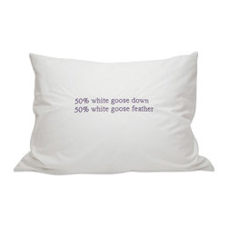 Down Etc. - Down Etc. 50% White Goose Down / 50% White Goose Feathers Pillow - Choose this down etc® blended Goose and feather down pillow. Covered in 235TC, it is Hypoallergenic and 50% White Goose Down / 50% White Goose Feathers Pillow. Super Soft, Preshrunk Down proof Cotton with Double Stitching with German Cotton Piping. Packaged in individual White Cotton Fabric Bag with handles.