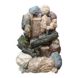 "Sunnydaze Decor - Rock And Wood Fountain w/ LED Light - Dimensions: 21"" Wide x 19"" Deep x 30""H, 35 lbs"