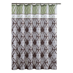 """Shower Curtain- Brookdale Brown/ Sage Embossed Microfiber - 72""""x 72"""" - Brookdale Brown/ Sage Embossed Microfiber Shower Curtain- 72""""x 72"""""""
