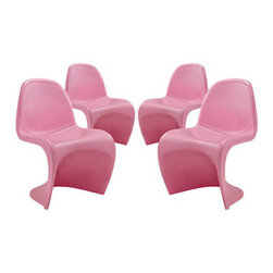 "LexMod - Slither Dining Side Chair Set of 4 in Pink - Slither Dining Side Chair Set of 4 in Pink - Sleek and sturdy, rock back and forth in comfort with this injection molded marvel. Constructed from a single piece of strong ABS plastic, the s shaped Slither chair can be found in many fashionable settings. Perfect for dining areas in need of a little zest, the design is versatile, fun and lively. Surprisingly cushy, choose from a selection of vibrant colors that wont fade over time. Slither is also perfect for spaces short on room. Set Includes: Four - Slither Dining Chair Tough ABS Construction, Stackable up to 4 High, Ergonomically Designed, Set of Four Chairs, No Assembly Required Overall Product Dimensions: 23""L x 19""W x 33""H Seat Height: 18""H - Mid Century Modern Furniture."
