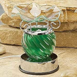 Artico - Green Spiral Glass Touch Sensitive Electric Oil Burner Aromatherapy - This gorgeous Green Spiral Glass Touch Sensitive Electric Oil Burner Aromatherapy has the finest details and highest quality you will find anywhere! Green Spiral Glass Touch Sensitive Electric Oil Burner Aromatherapy is truly remarkable.