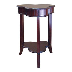 ORE International - Shamrock Shape Accent Table in Cherry Finish - Unique shape. Lower shelf. 3 Flared legs. Strengthened with mortise and tenon joint reinforcement. Made of wood composite. 18.5 in. W x 18.5 in. D x 28 in. H (15 lbs.)Add a tasteful touch of charm and Irish luck to a room. The luck of the Irish will be part of your home's design with the addition of this stylish shamrock shaped end table, an intriguing addition to any decor.